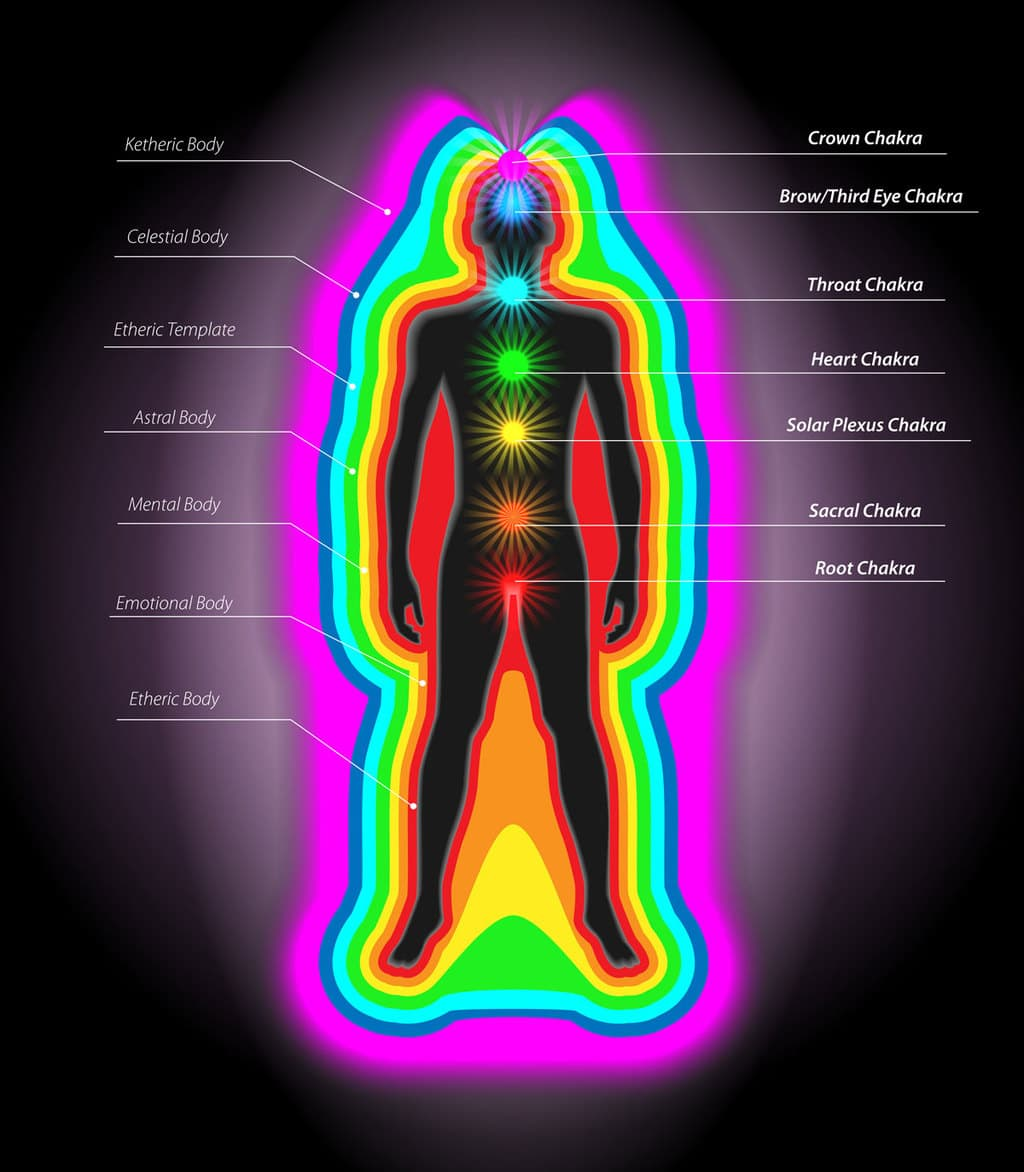 Diagram of energy and chakra fields