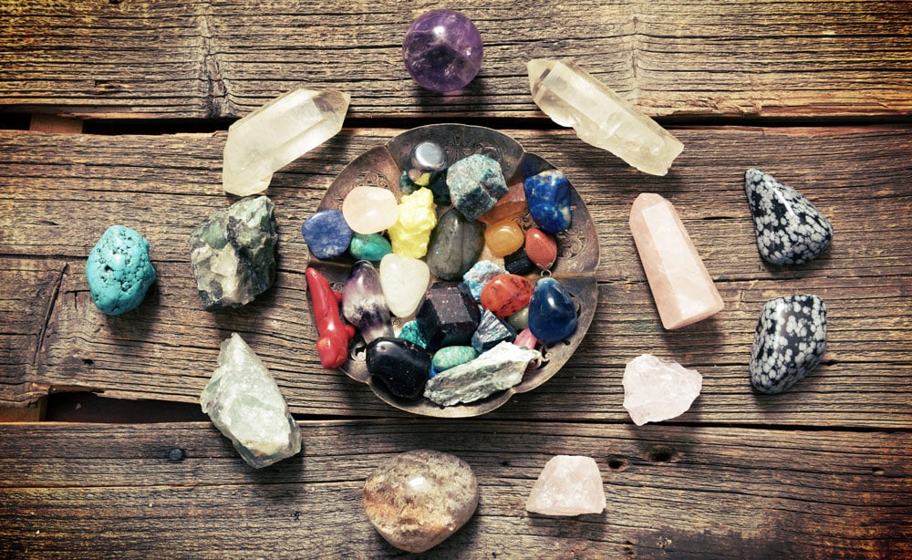 A selection of healing crystals on a table